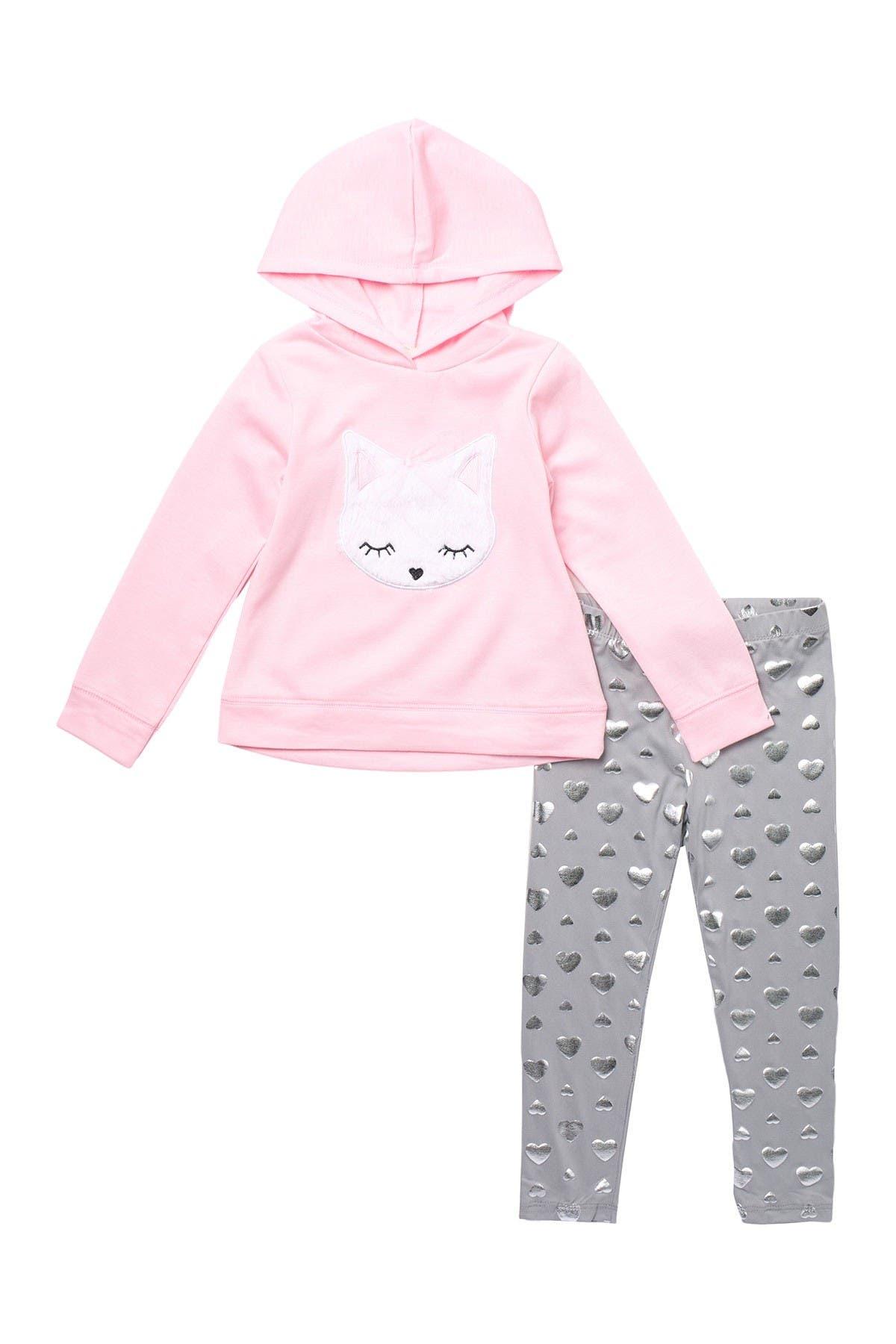 Image of Btween Heart & Cat Printed Hoodie & Leggings 2-Piece Set