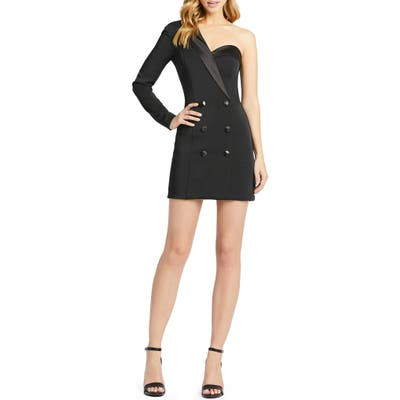 MAC Duggal One-Shoulder Tuxedo Cocktail Dress, Black