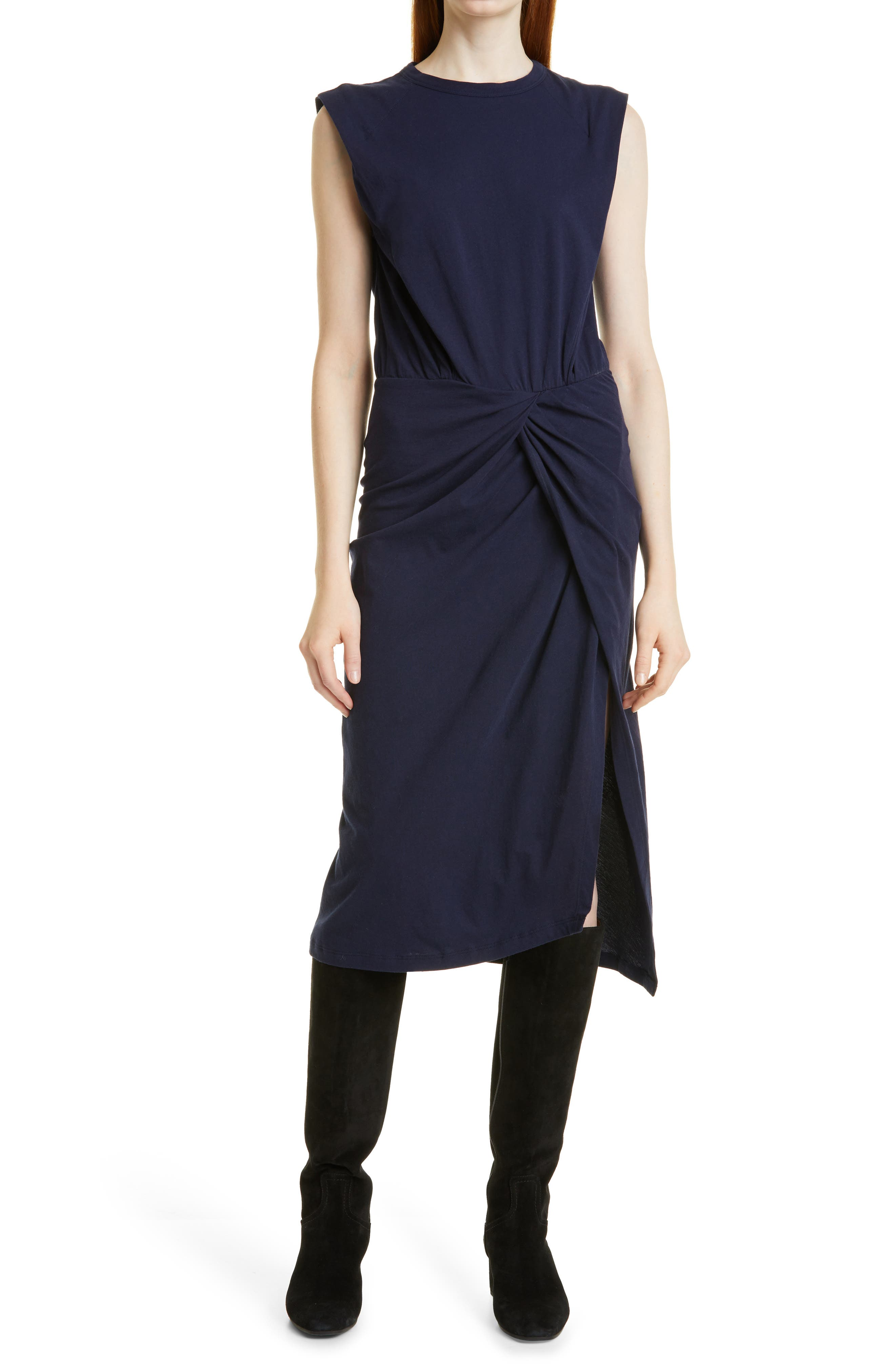 Landry Twist Front Sleeveless Cotton Knit Dress