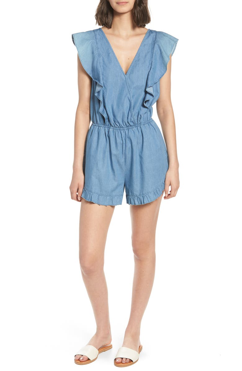 MIMI CHICA Ruffle Chambray Romper, Main, color, 400
