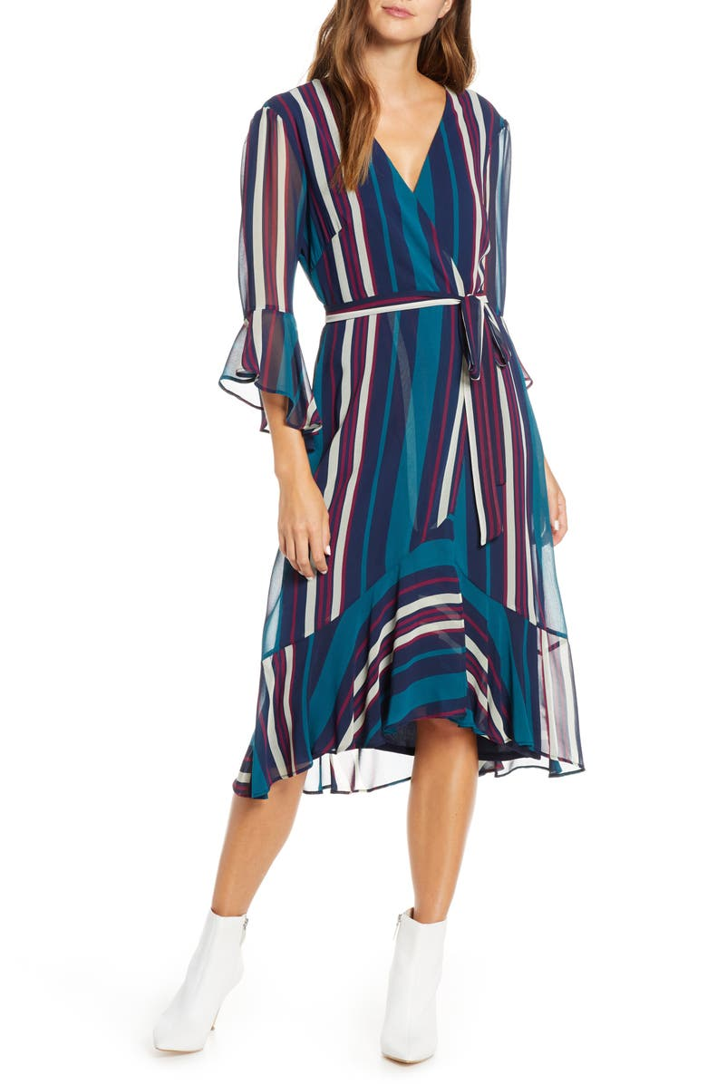 MAISON TARA Bell Sleeve Stripe Chiffon Midi Dress, Main, color, NAVY/ TEAL