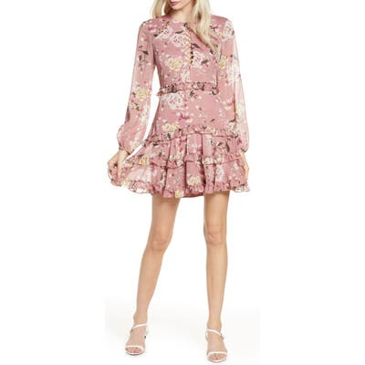 Bardot Hazel Floral Long Sleeve Minidress, Pink