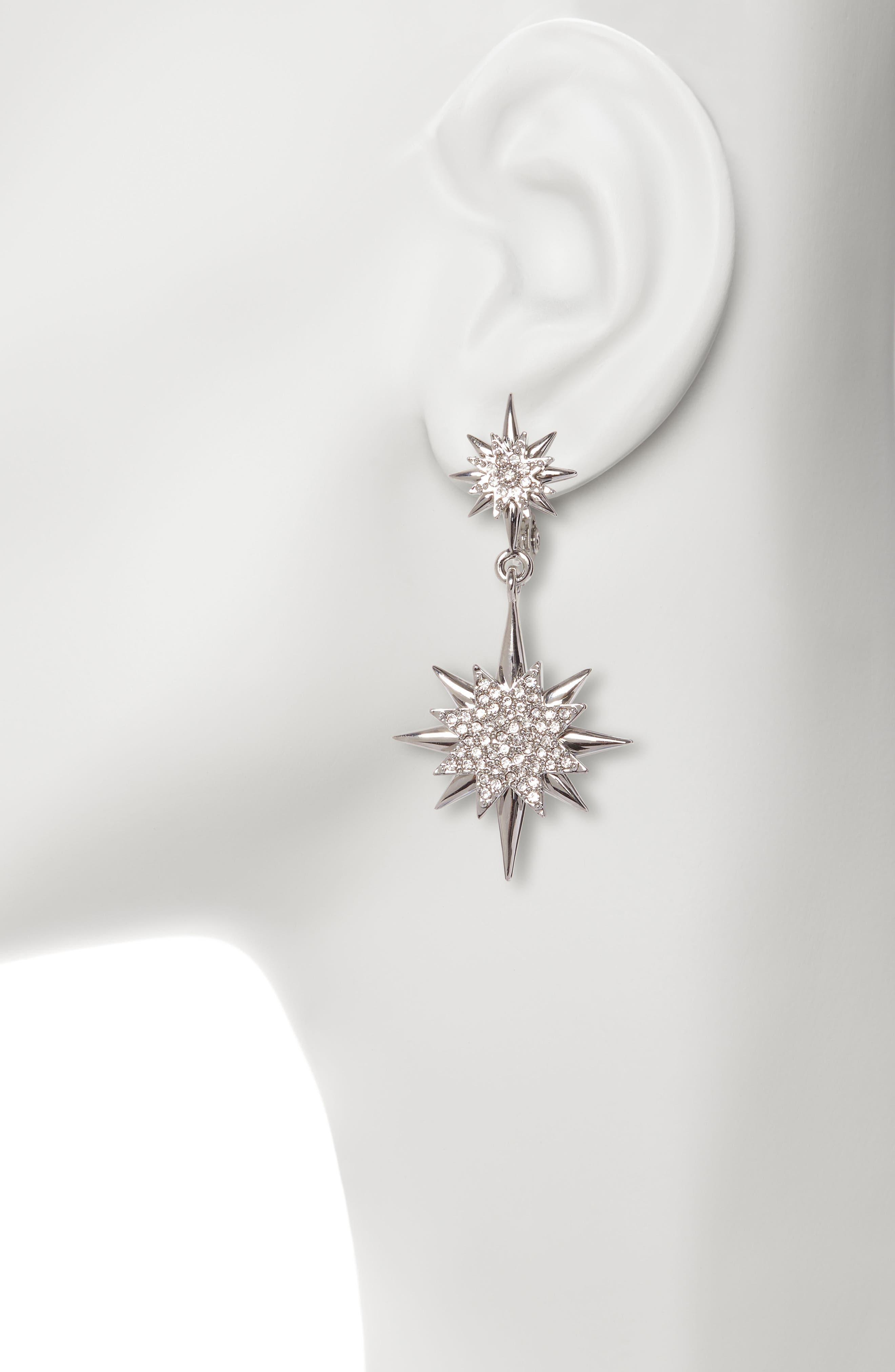 ,                             Celestial Double Drop Clip-On Earrings,                             Alternate thumbnail 2, color,                             RHODIUM/ CRYSTAL