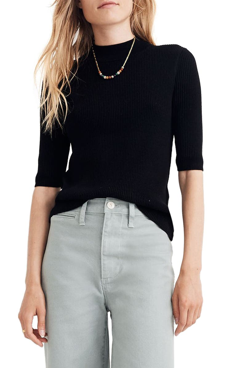 MADEWELL Dalston Mock Neck Sweater, Main, color, 001
