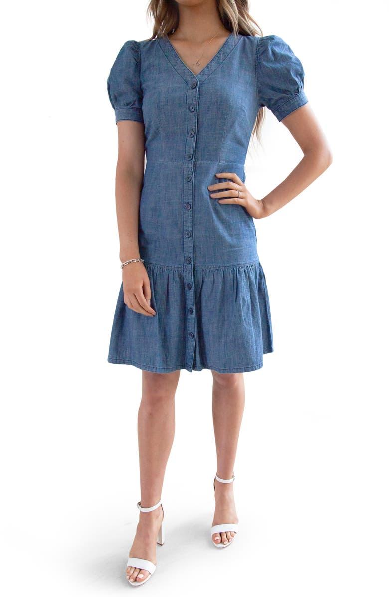 RACHEL PARCELL Chambray Shirtdress, Main, color, MEDIUM WASH