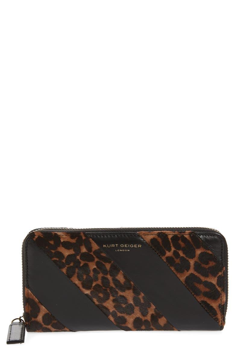 KURT GEIGER LONDON K Stripe Leather & Genuine Calf Hair Zip Around Wallet, Main, color, BROWN/ OTH