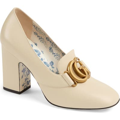 Gucci Victoire Block Heel Pump - White