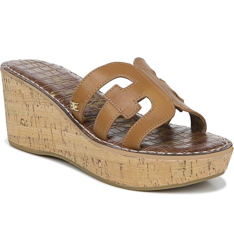 SAM EDELMAN Regis Platform Wedge Slide Sandal, Main, color, SADDLE LEATHER