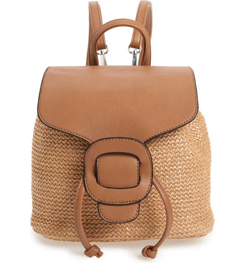 Convertible Faux Leather & Straw Backpack by Knotty