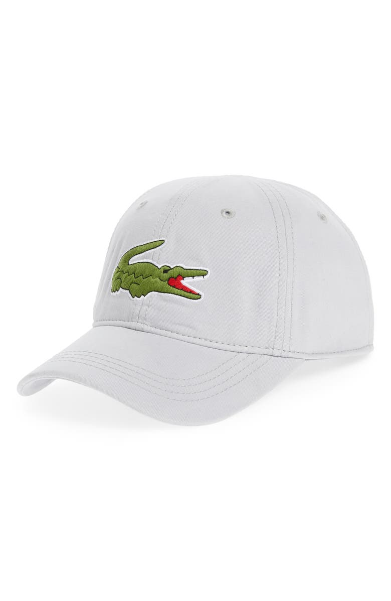 LACOSTE 'Big Croc' Logo Embroidered Cap, Main, color, 020