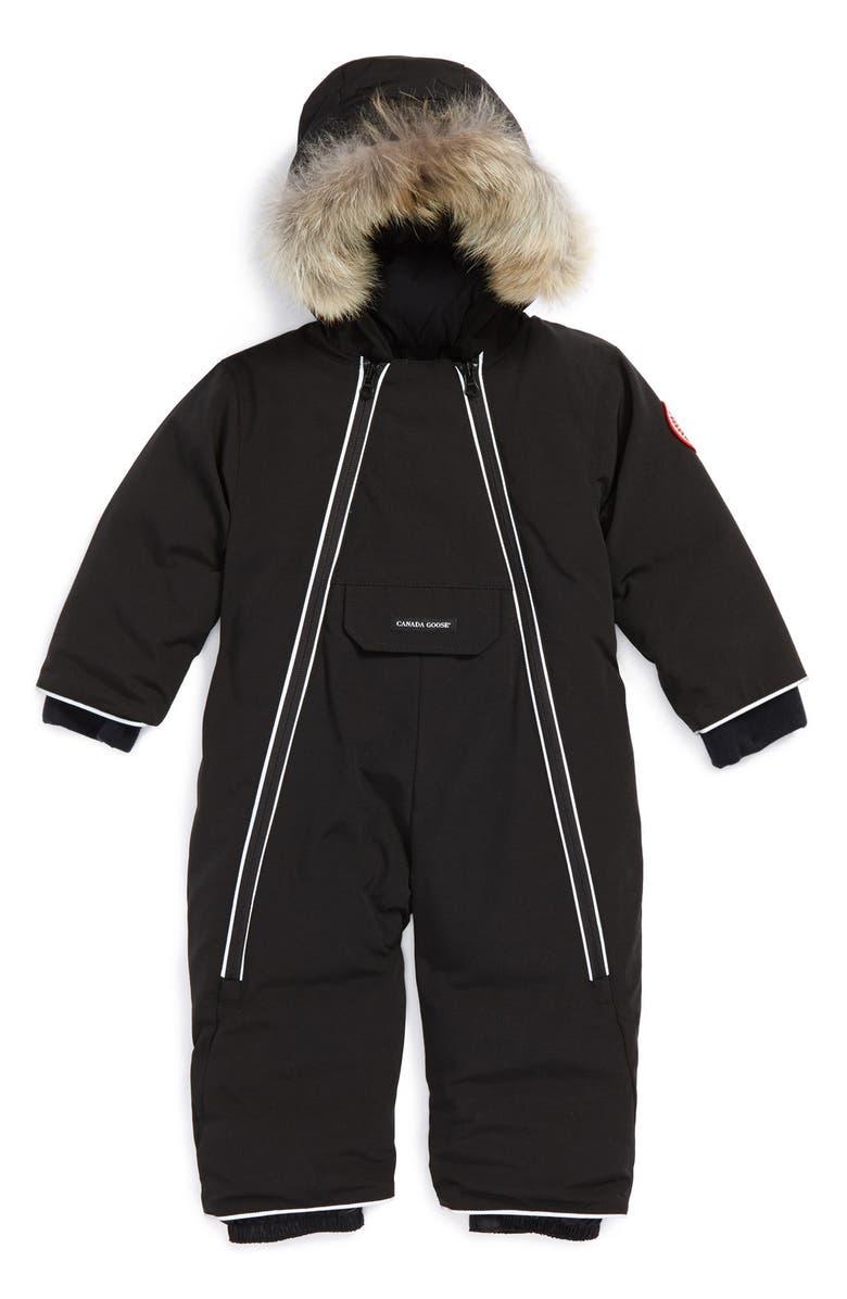 CANADA GOOSE 'Lamb' Down Snowsuit with Genuine Coyote Fur Trim, Main, color, 001