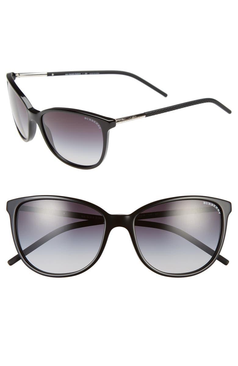 BURBERRY 57mm Sunglasses, Main, color, 001