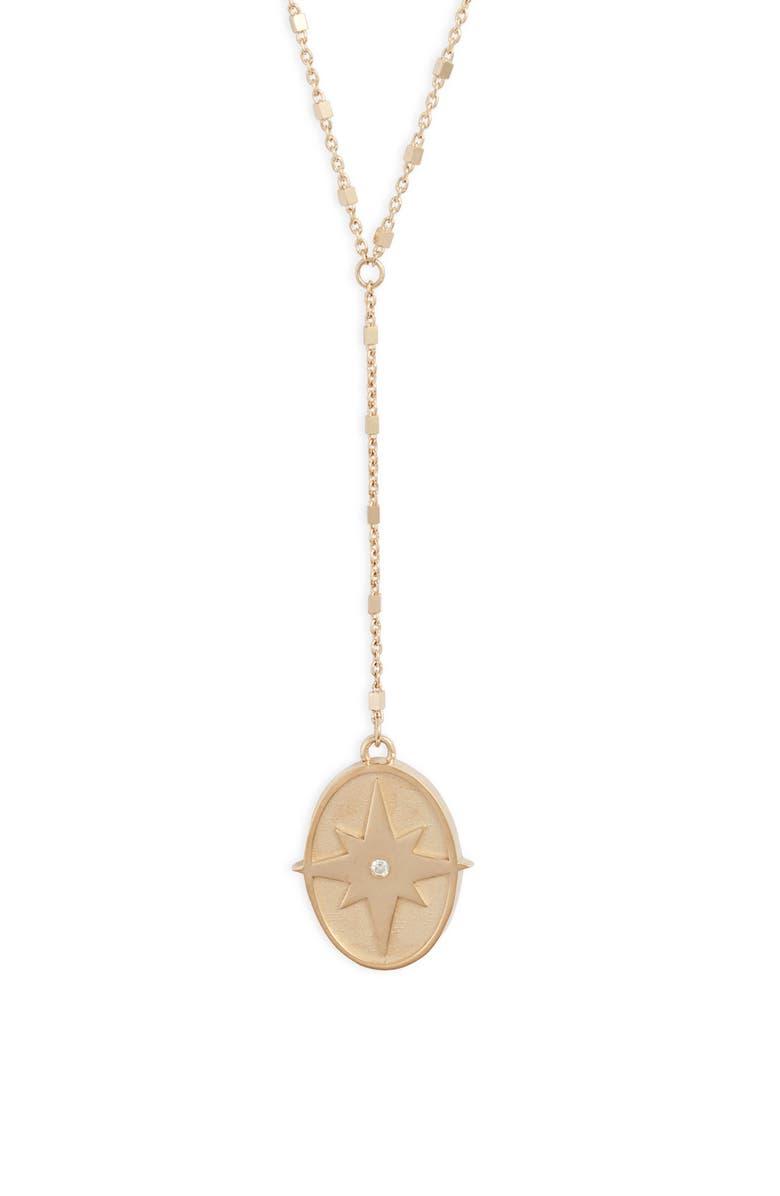 JENNIFER ZEUNER Femke Diamond Y-Necklace, Main, color, YELLOW VERMEIL