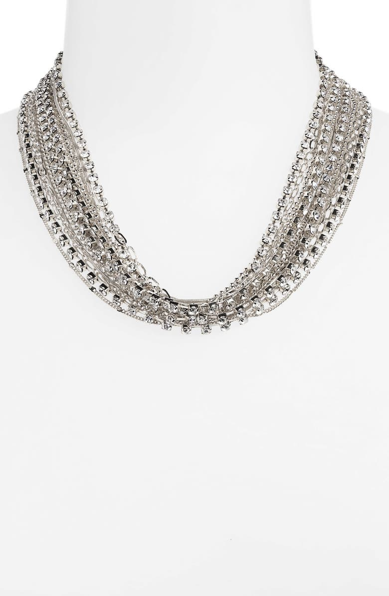 HALOGEN<SUP>®</SUP> Draped Rhinestone Chain Torsade Necklace, Main, color, CLEAR- RHODIUM