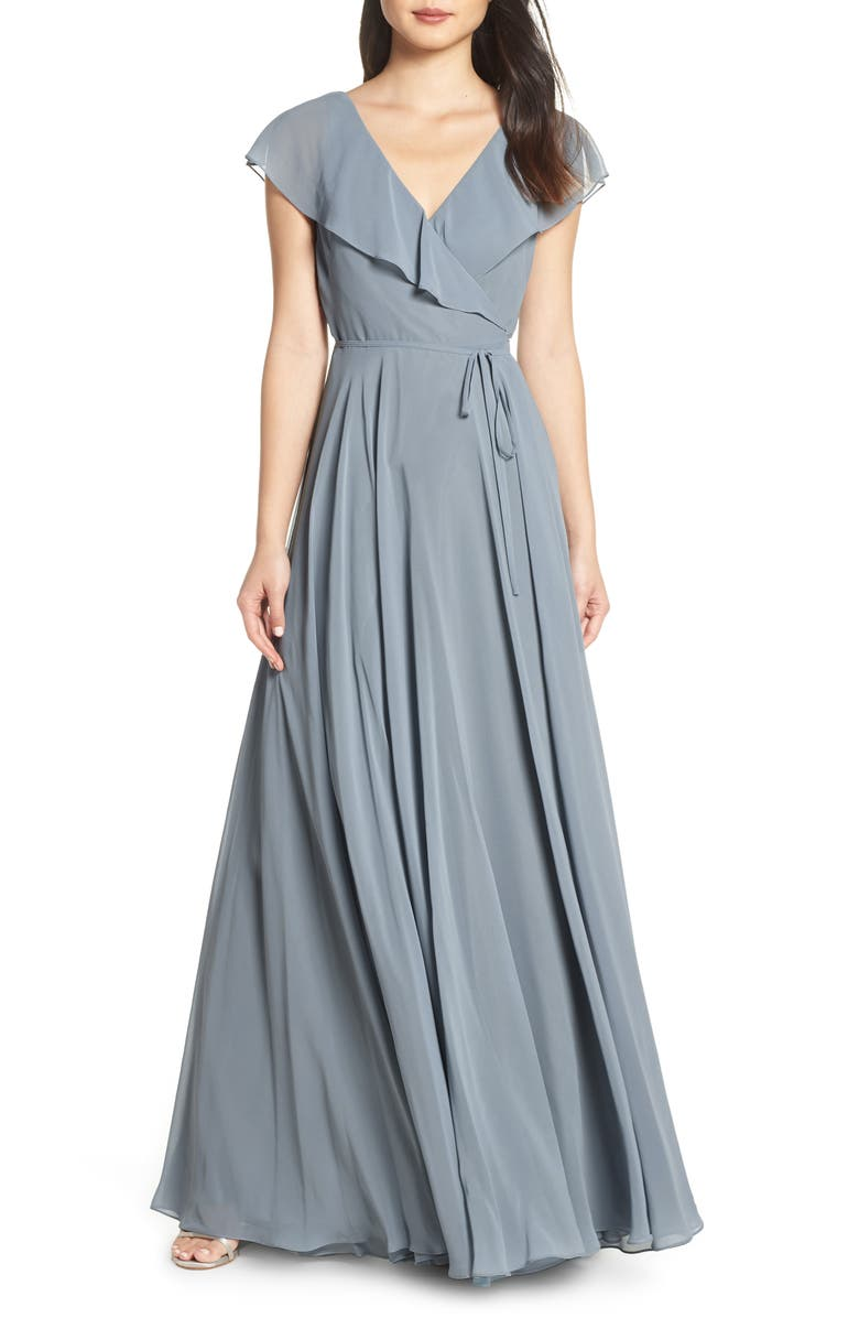 JENNY YOO Faye Ruffle Wrap Chiffon Evening Dress, Main, color, MAYAN BLUE