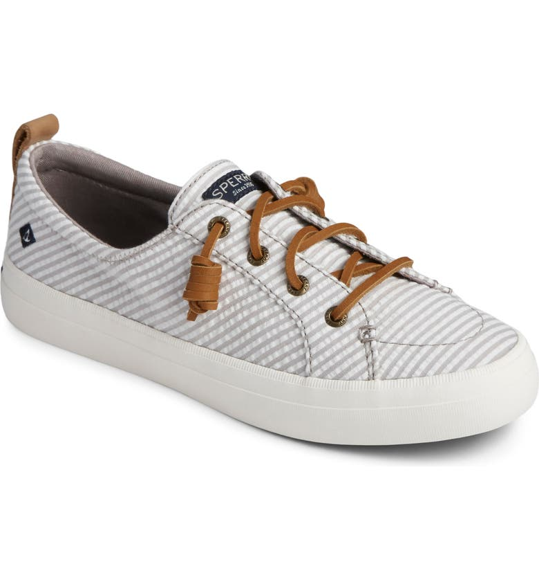 SPERRY Crest Vibe Slip-On Sneaker, Main, color, GREY SEERSUCKER STRIPE FABRIC