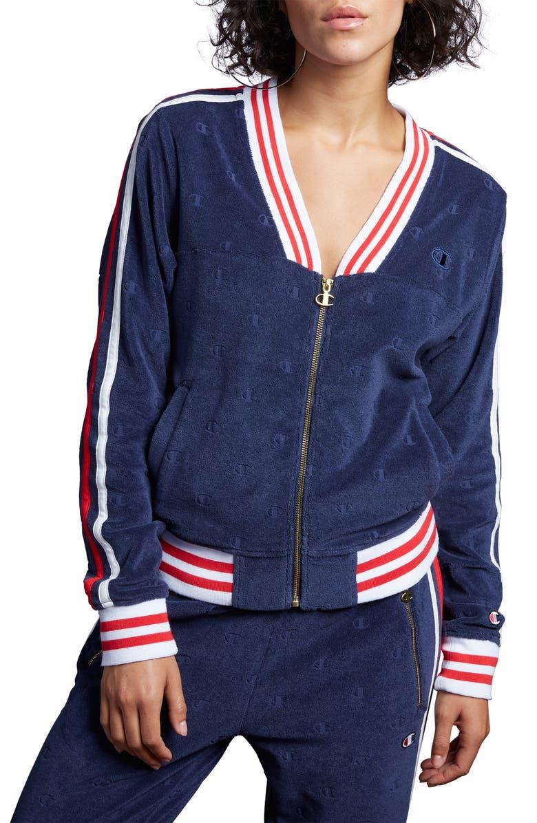 CHAMPION Terry Warm-Up Jacket, Main, color, IMPERIAL INDIGO C LOGO