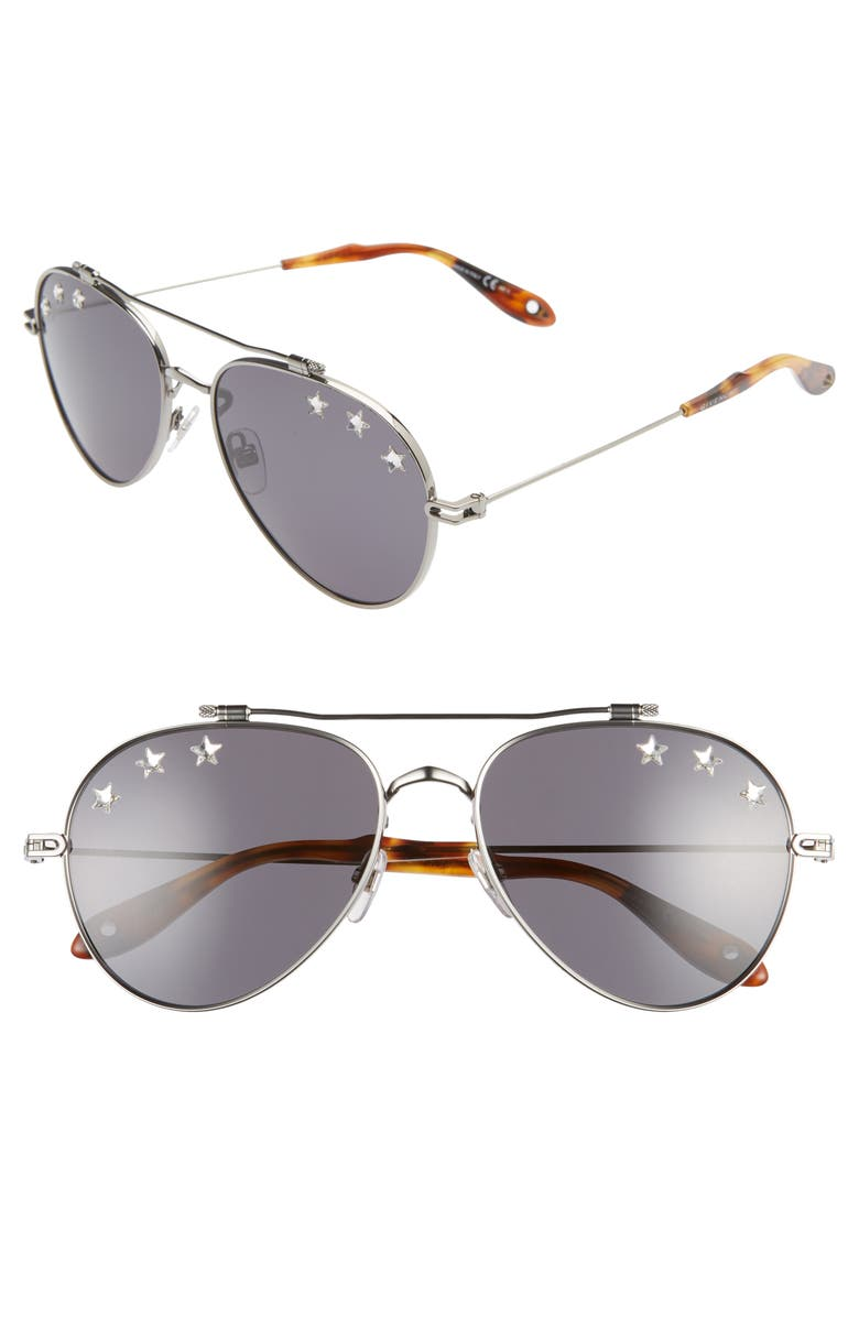 GIVENCHY 58mm Aviator Sunglasses, Main, color, SILVER/ GREY BLUE