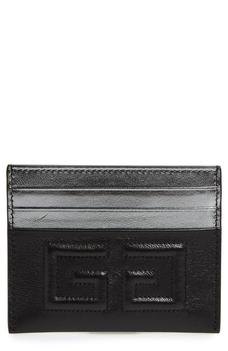 GIVENCHY Emblem Leather Card Case, Main, color, BLACK