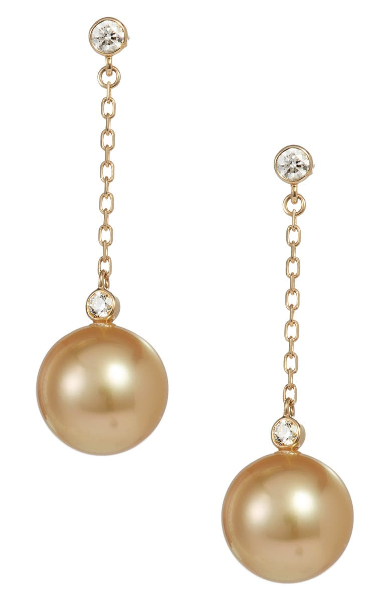 MIKIMOTO South Sea Cultured Pearl & Diamond Drop Earrings, Main, color, YELLOW GOLD