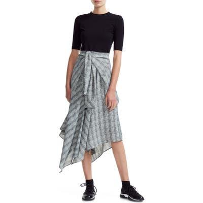 Maje Rapri Mixed Media Asymmetrical Dress, (fits like 6 US) - Grey