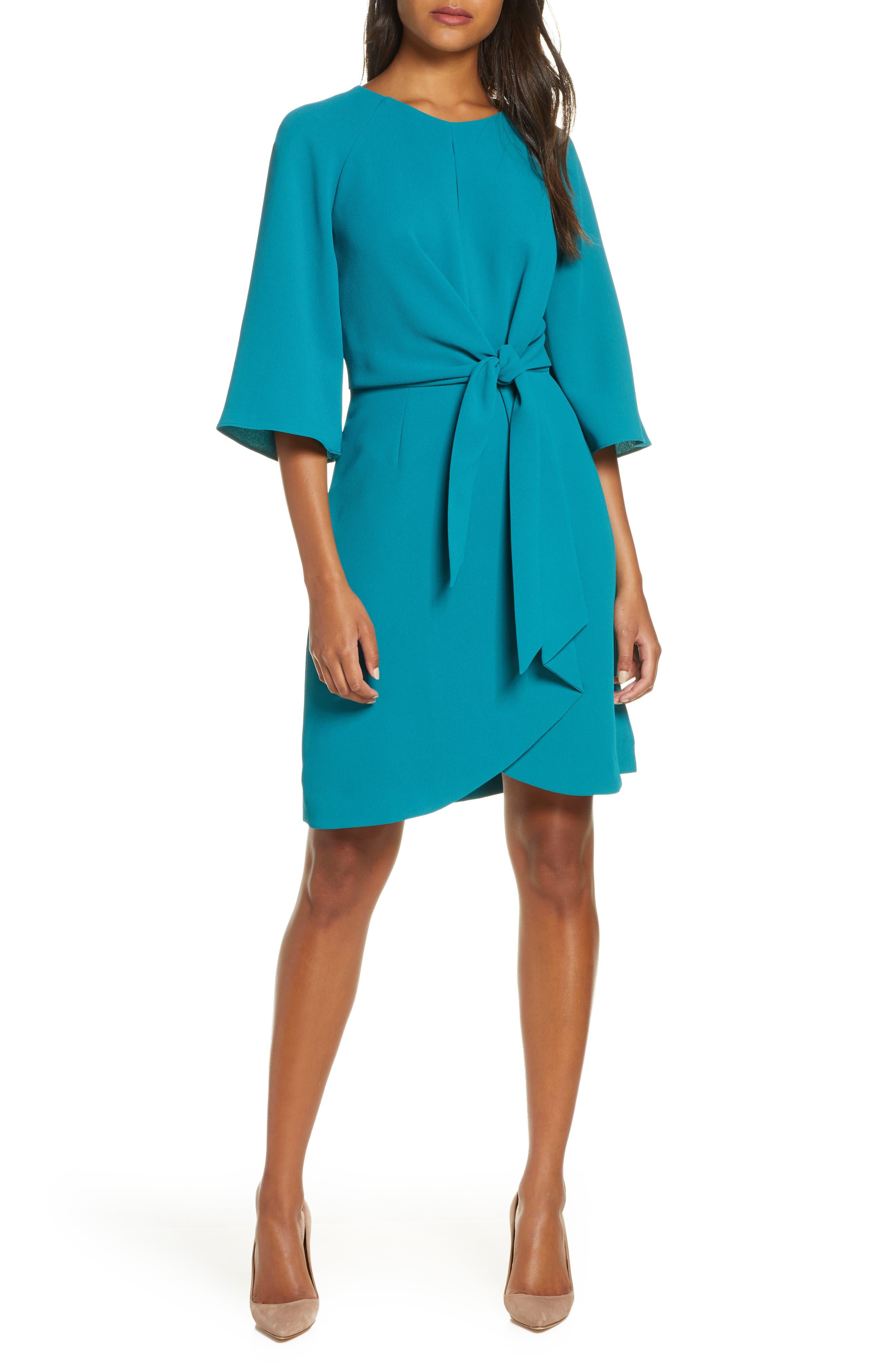 Tahari Tie Front Crepe Sheath Dress, Blue