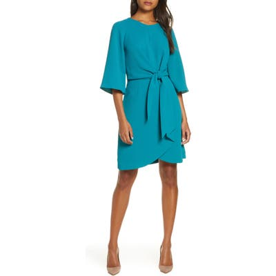 Tahari Tie Front Crepe Sheath Dress, Blue