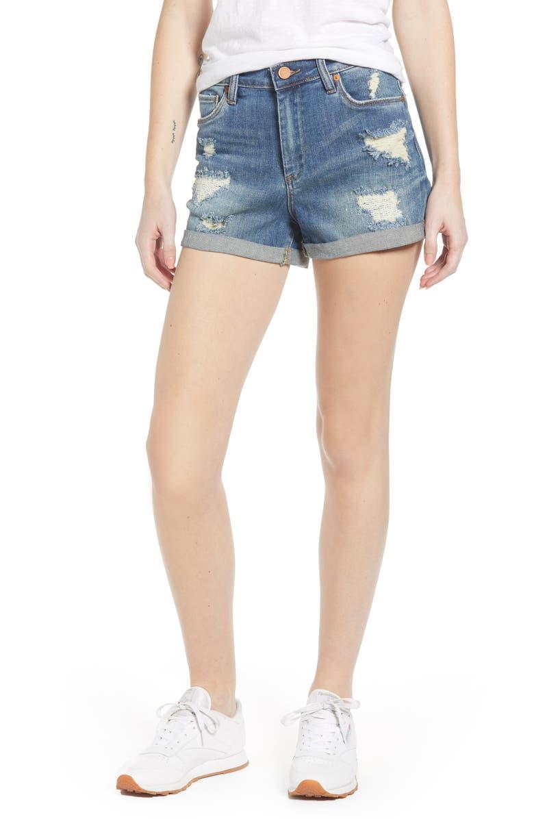 BLANKNYC High Waist Boyfriend Denim Shorts, Main, color, 400