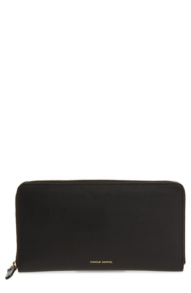 MANSUR GAVRIEL Continental Zip Leather Wallet, Main, color, BLACK/ FLAMMA