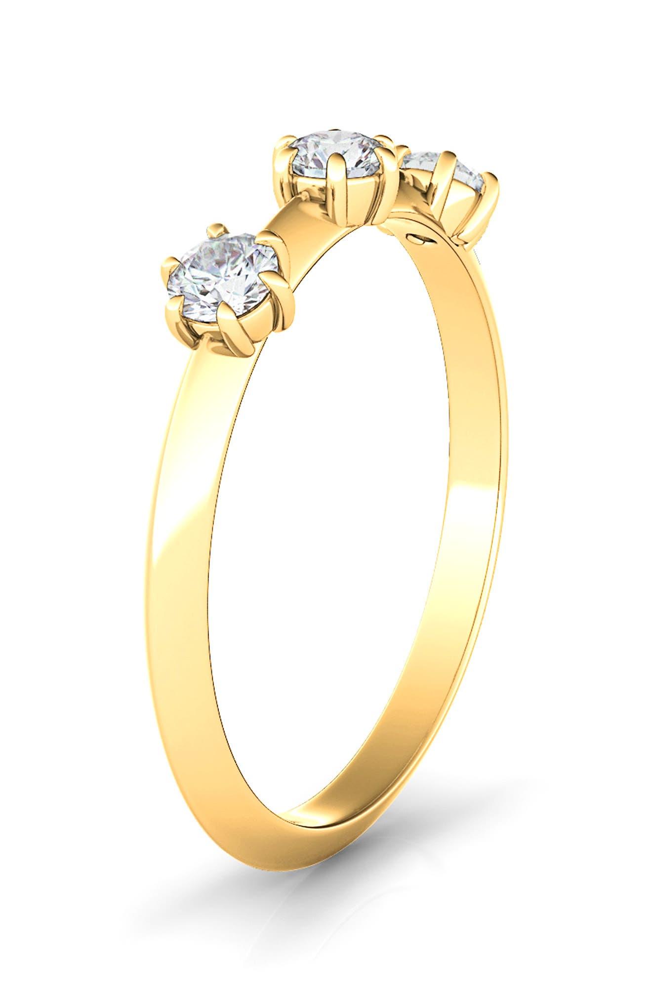 Kismet Lab Created Three Diamond 14K Gold Band
