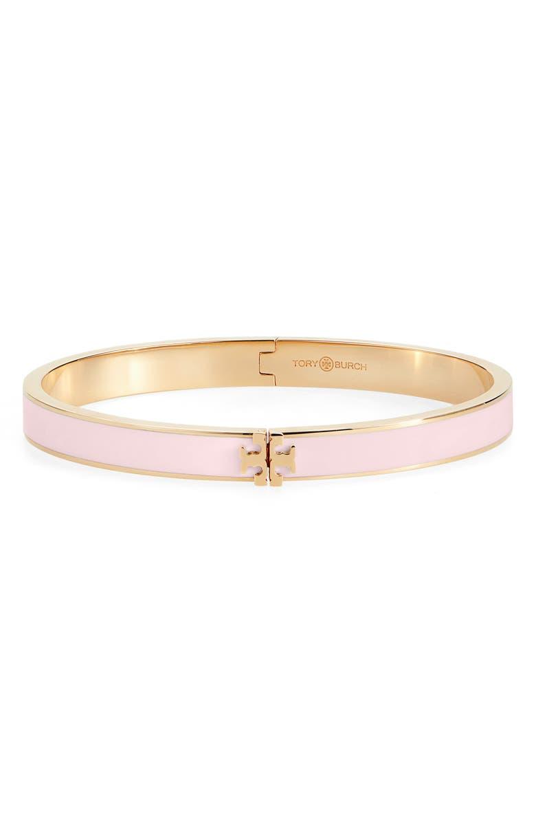 TORY BURCH Kira Logo Enamel Hinge Bracelet, Main, color, TORY GOLD / MINERAL PINK
