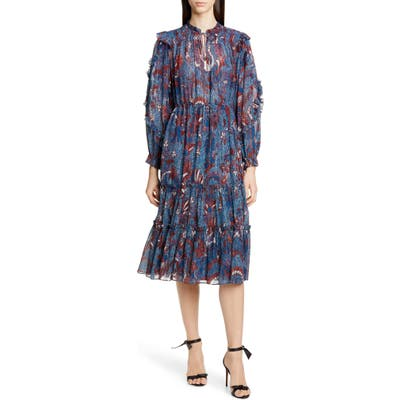 Ulla Johnson Paola Ruffle Long Sleeve Midi Dress, Blue