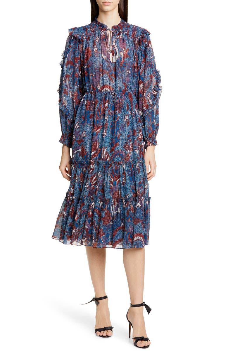 Paola Ruffle Long Sleeve Midi Dress by Ulla Johnson