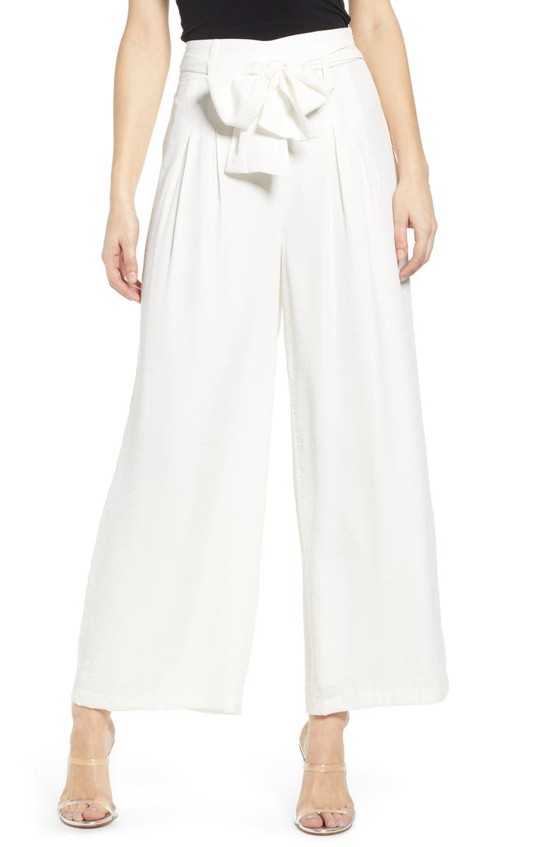 J.O.A. Tie Front Wide Leg Pants, Main, color, IVORY
