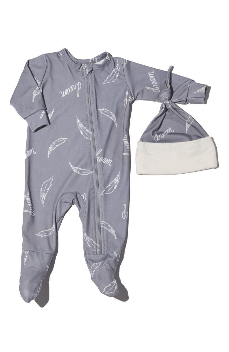 BABY GREY Jersey Footie & Hat Set, Main, color, DREAM