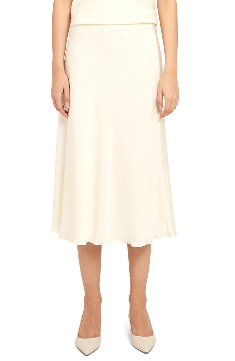 THEORY Lettuce Edge Stretch Silk Skirt, Main, color, IVORY