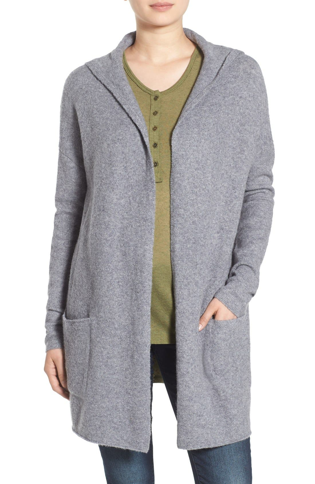 ,                             Hooded Longline Cardigan,                             Main thumbnail 1, color,                             030