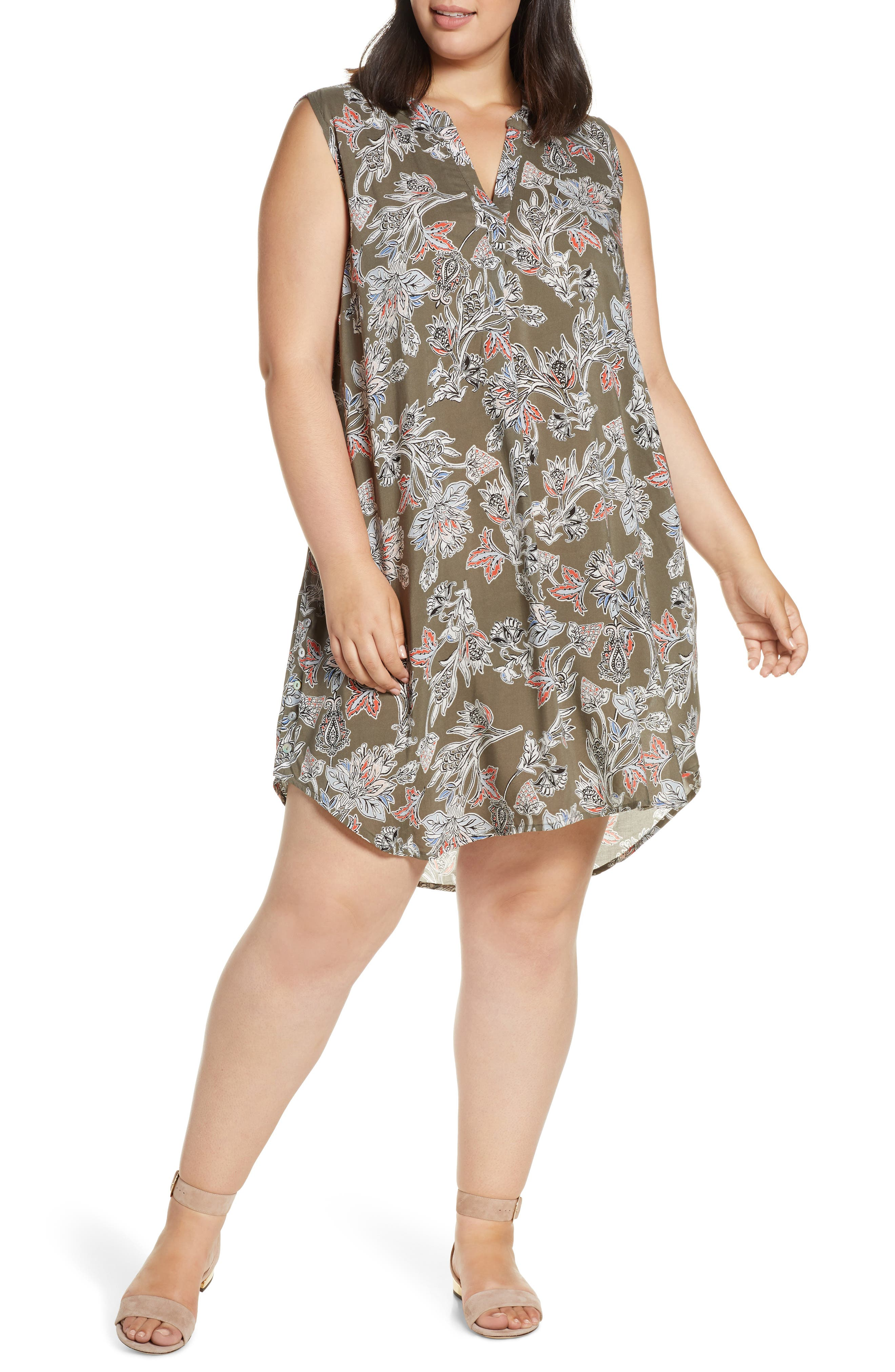 Plus Size Single Thread Split Neck Sleeveless Dress, Green