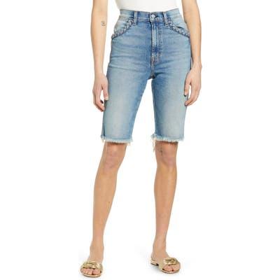 7 For All Mankind High Waist Cutouff Denim Bermuda Shorts, 3 - Blue