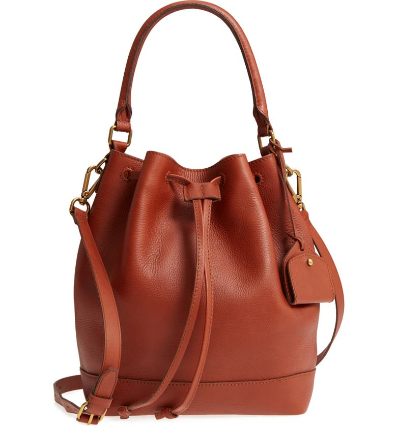 MADEWELL Lafayette Leather Bucket Bag, Main, color, 200