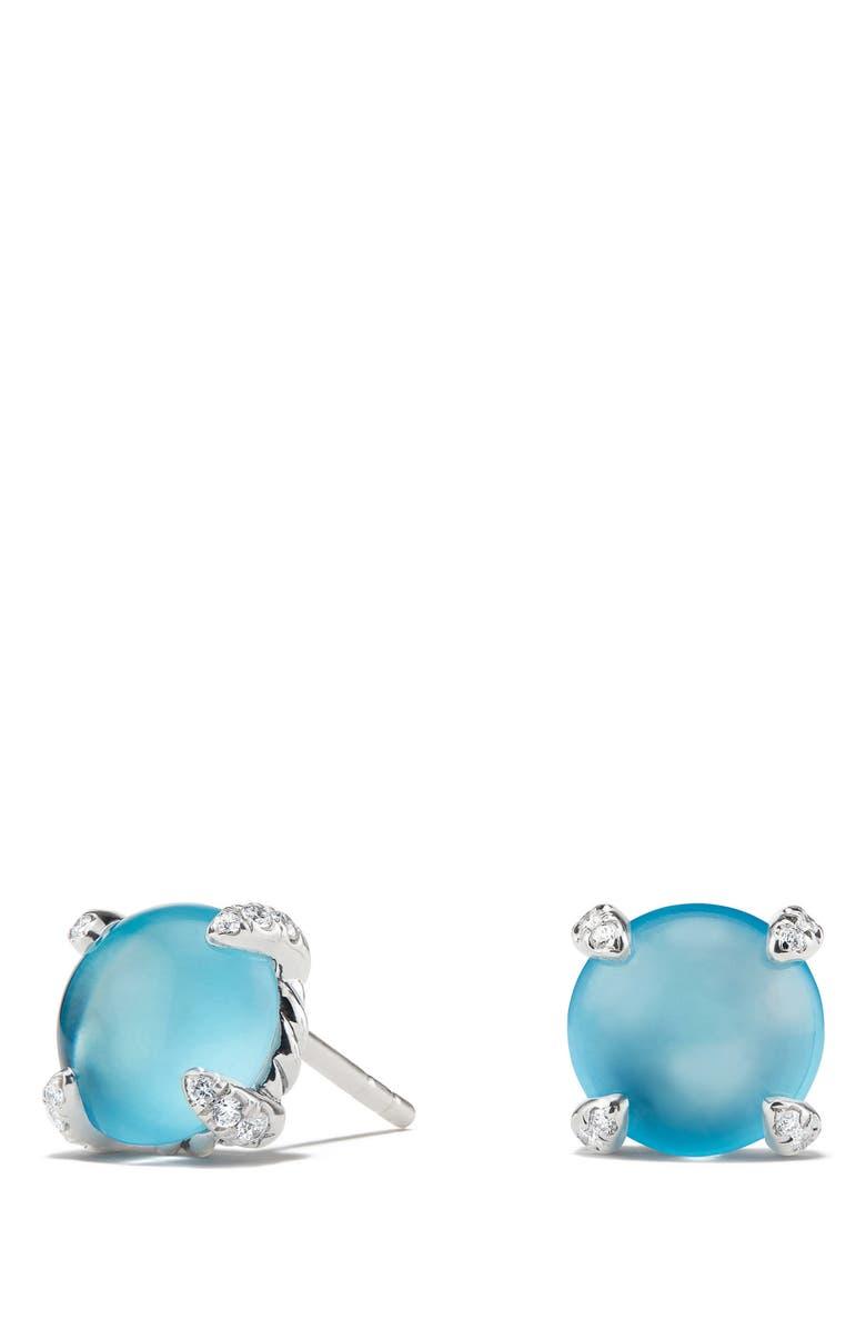 DAVID YURMAN Chatelaine<sup>®</sup> Stud Earrings with Gemstone & Diamond, Main, color, SILVER/ DIAMOND/ BLUE TOPAZ