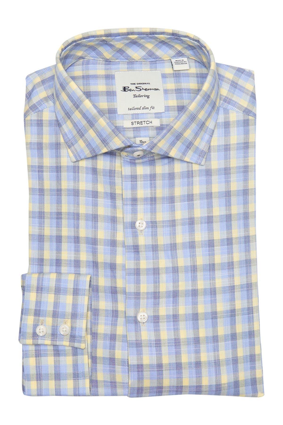 Image of Ben Sherman Yellow & Blue Slub Check Dress Shirt