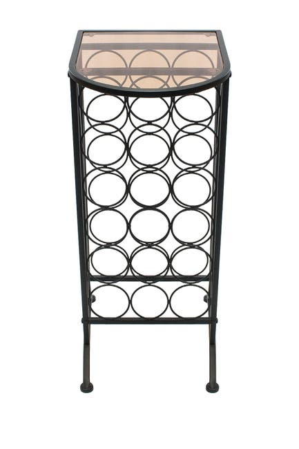 Image of Sorbus Wine Rack Stand with Glass Table Top - Black