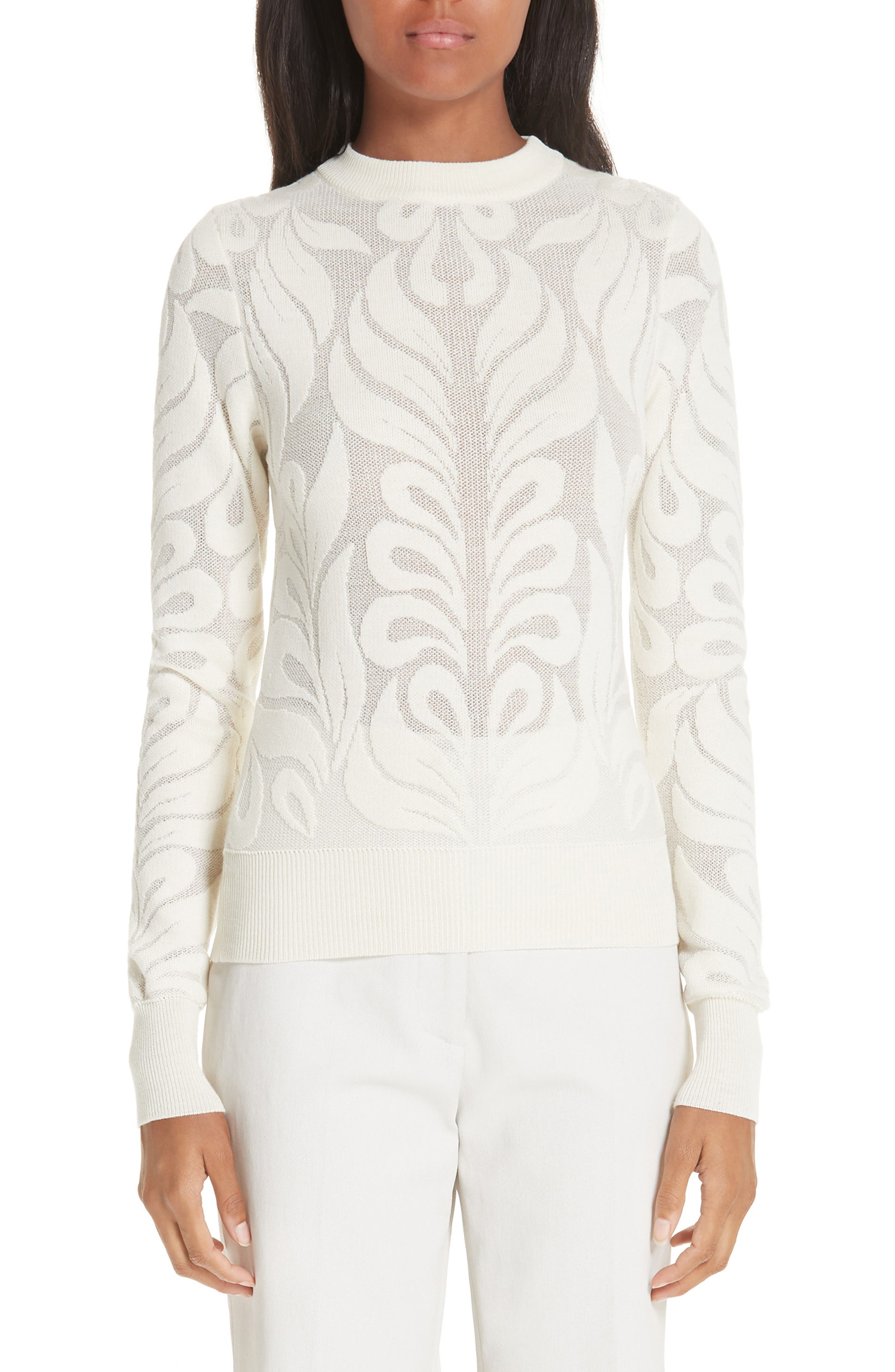 Partow Intarsia Knit Wool Sweater, Ivory