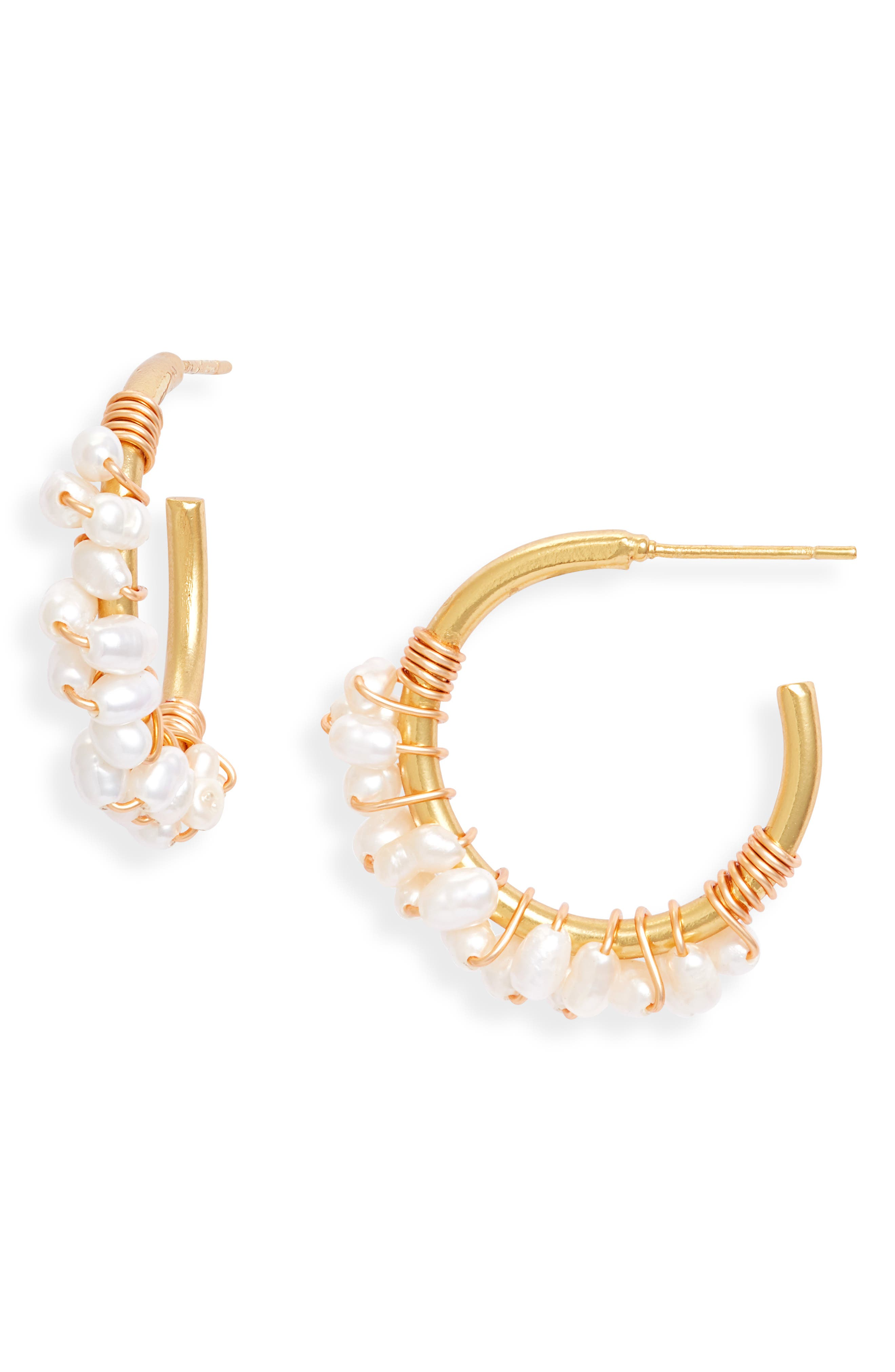 Crisobela Jewelry Baha Freshwater Pearl Hoop Earrings in Gold at Nordstrom
