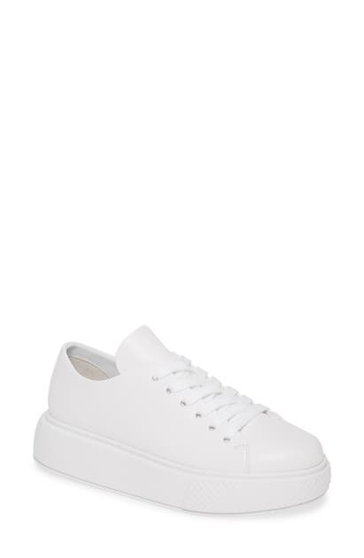 Jeffrey Campbell Entourage Low Top Platform Sneaker In White/ White