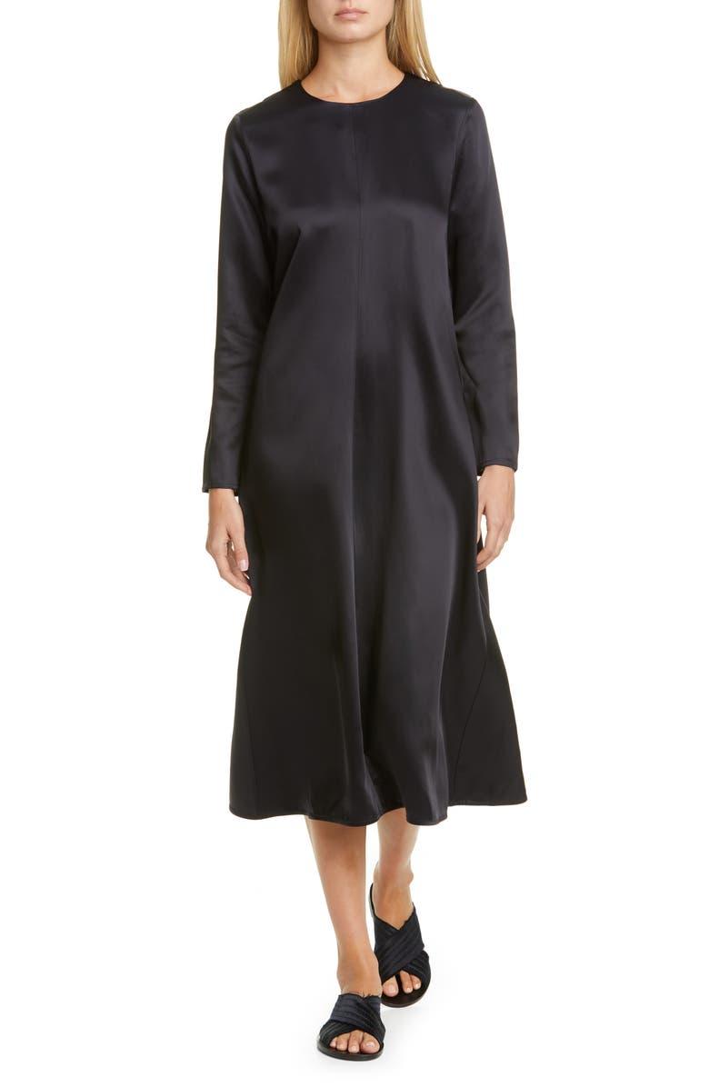 CO Long Sleeve Satin Midi Dress, Main, color, NAVY