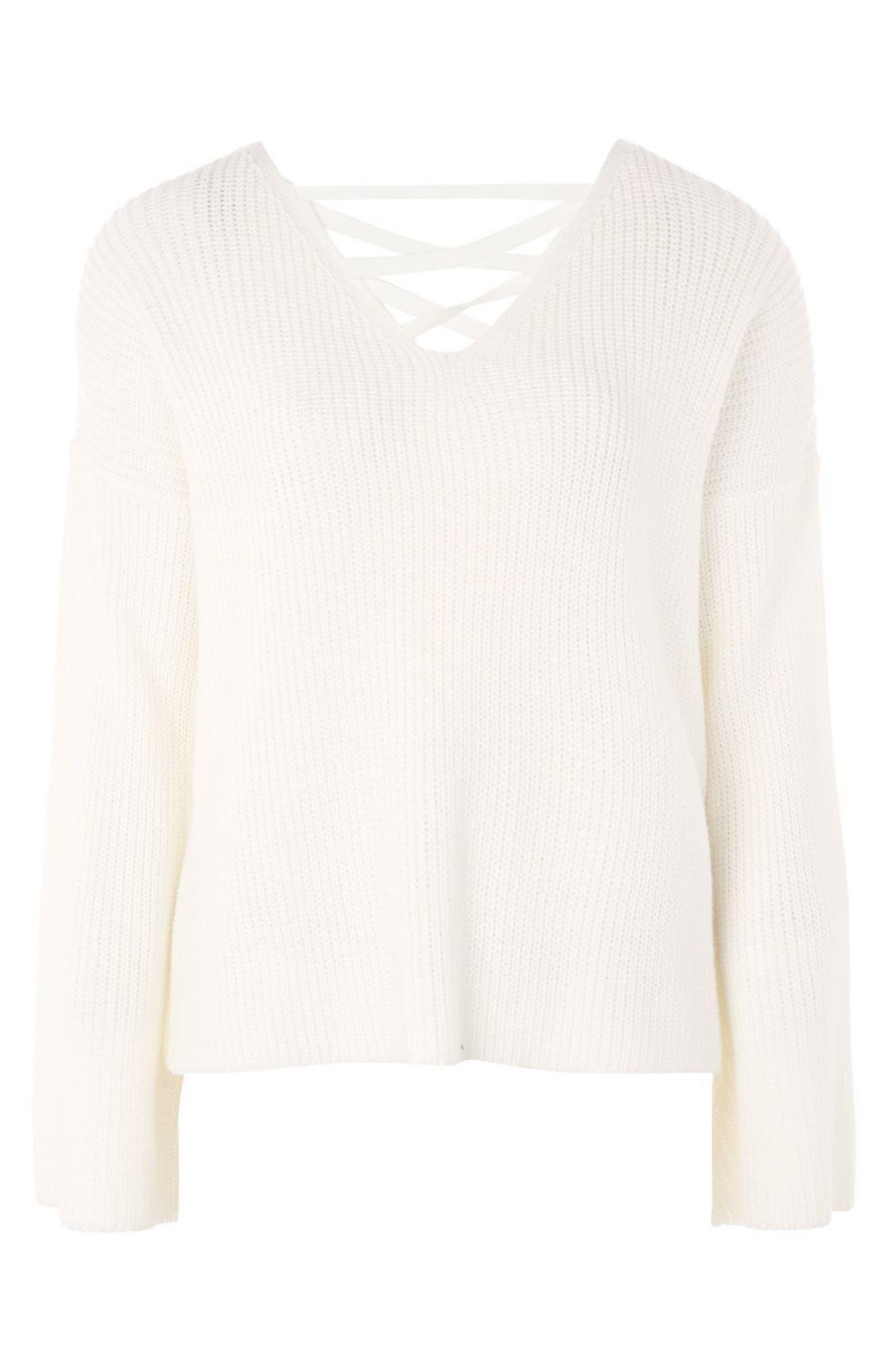 ,                             Lattice Back Sweater,                             Alternate thumbnail 6, color,                             900