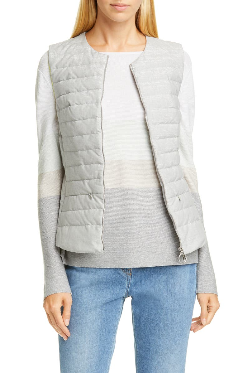 FABIANA FILIPPI Neon Trim Puffer Vest, Main, color, GREY
