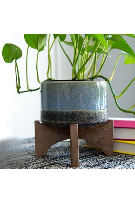 "Image of FLORA BUNDA 5.1"" Opening Lava Ceramic On Wood Stand - Blue"